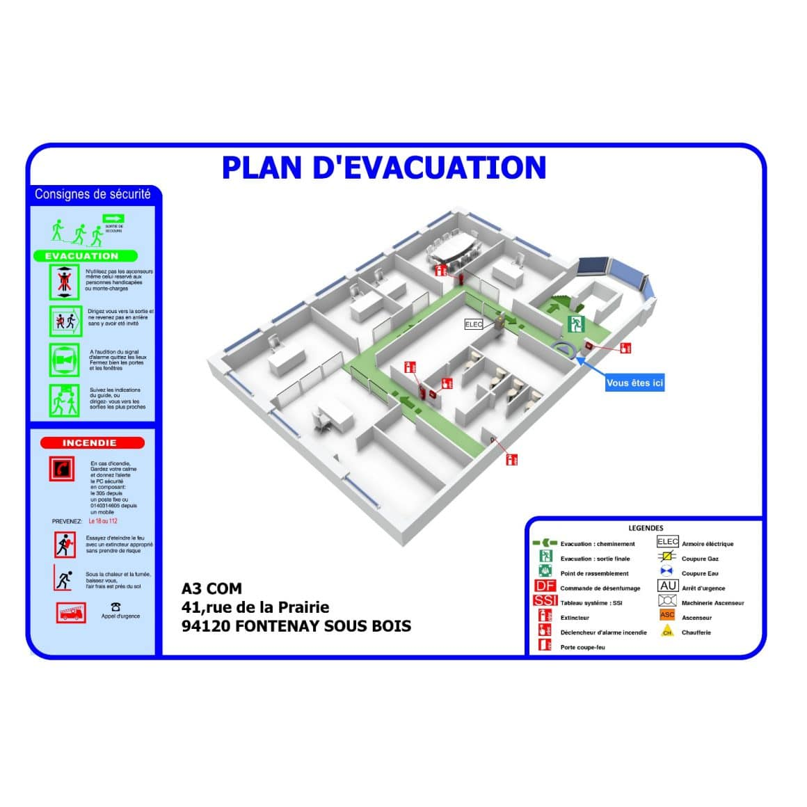 plan evacuation a3 com service plan securite 3d